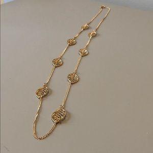Gold leaf long necklace